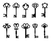 Black vintage keys set — Stock Vector