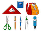 School supplies and objects in cartoon style — Stock Vector