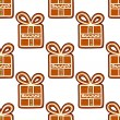 Gingerbread presents seamless pattern — Stock Vector