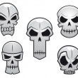 Cartoon skulls set with danger emotions — Stock Vector
