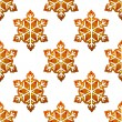 Gingerbread snowflakes seamless pattern — Stock Vector