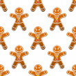 Gingerbread man cookie seamless pattern — Stock Vector
