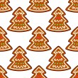 Gingerbread new year tree seamless pattern — Stock Vector