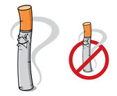 Sign no smoking with danger cigarette — Stock Vector