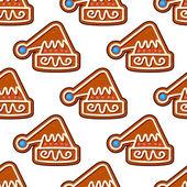 圣诞帽子姜饼无缝模式 — 图库矢量图片