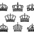 Stock Vector: Collection of heraldic royal crowns