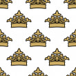 Stock Vector: Seamless pattern of golden royal crowns