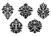 Floral and foliate damask elements — Vecteur