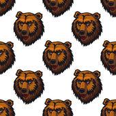 Seamless pattern of brown bear head trophies — Stock Vector