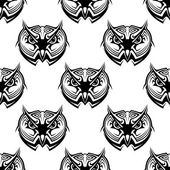 Seamless pattern of wise old owls — Vecteur