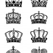 Stock Vector: Set of vintage heraldic royal crowns