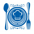 Gournet food award with plate and cutlery — Stock Vector
