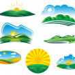 Set of sunny summer landscapes — Stock Vector