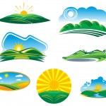 Set of sunny summer landscapes — Stock Vector