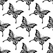 Stock Vector: Repeat seamless pattern of butterflies
