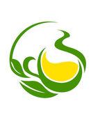 зеленый био или эко дизайн с закрученного листья — Cтоковый вектор