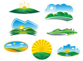 Set of sunny summer landscapes — Stockvector