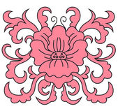 Pink floral pattern with foliate elements — Vecteur
