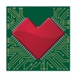 Stylized red heart shape on a circuit board — Stock Vector