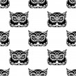 Cute little wise old owl seamless pattern — Stock Vector