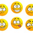 Set of yellow emoticons — Stock Vector