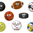 Happy sporting balls and equipment — Stock Vector