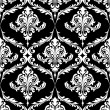 Black and white vintage damask pattern — Stock Vector
