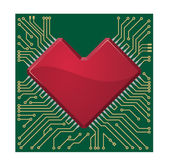 Stylized red heart shape on a circuit board — Vecteur