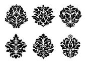 Six different floral arabesque designs — Stock Vector