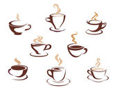 Set of steaming cups of hot beverages — Stock Vector