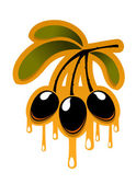 Bunch off olives dripping olive oil — Stockvector