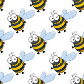 Seamless pattern of fat little honey bees — Wektor stockowy