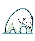 Stylized illustration of a sleepy white polar bear — Cтоковый вектор
