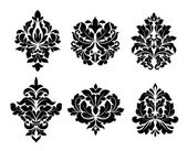 Collection of six different arabesque designs — Stock Vector