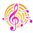 Music themed motif in yellow and pink — Stock Vector #39586257