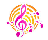 Music themed motif in yellow and pink — Stock Vector