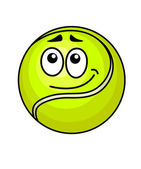 Cartoon tennis ball with a wry smile — Stock Vector