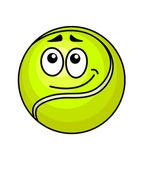 Cartoon tennis ball with a wry smile — Stock Vector