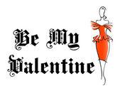 Retro woman with My Valentine design — Stock Vector