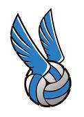 Volley ball avec ailes — Vector de stock