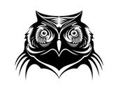 Head of a wise old owl — Stock Vector