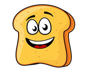 Slice of bread or toast with a beaming smile — Stock Vector