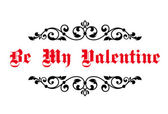 Vintage decorative header Be My Valentine — Stock Vector