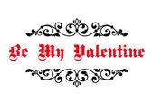 Vintage decorative header Be My Valentine — Stock Vector