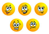 Five cute yellow vector emoticons — Stock Vector
