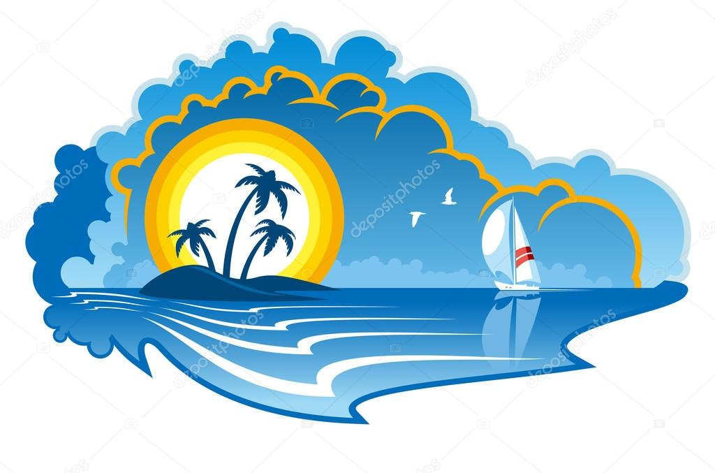 Cartoon Palm Tree Island Island With Palm Trees And