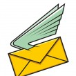 Envelope with wings, symbol of fast delivery — Stock vektor