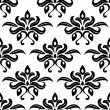Stock Vector: Modern foliate black and white arabesque pattern