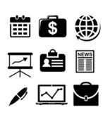Set of black and white business icons — Stock Vector