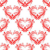 Seamless pattern ornate floral hearts — Stock Vector